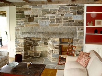 Mica-Schist Ashlar & Veneer, White Mortar, Large Stone Lintel/Mantel, Stone Firebox, Woodbox, Flush Flagstone Hearth