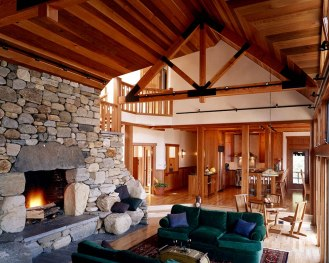 """Boulder Fireplace w/stone seats, Large Lintel Stone, """"Dry-Fit"""", Raised Hearth"""