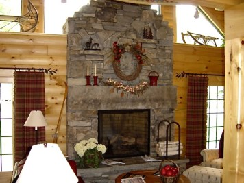 Mixed Ashlar & Veneer, Large Stone Lintel/Mantel, Raised Flagstone Hearth