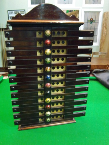 G Wright Mahogany antique Life Pool Scoreboard  Browns Antiques Billiards and Interiors