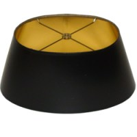 Short Oval Black Parchment Lampshade with Gold Foil Lining ...