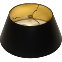 Short Round Black Parchment Lamp Shade with gold foil ...