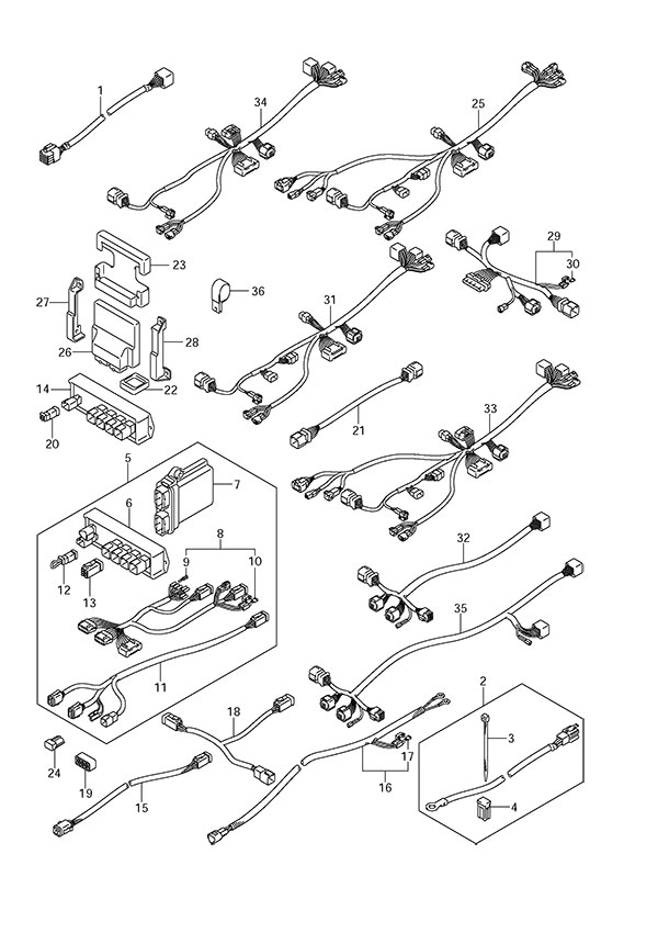 johnson outboard ignition wiring diagram wilkinson guitar pickup fig. 39 - opt: harness suzuki df 300 parts listings 2007 to s/n 30002f-11xxxx ...