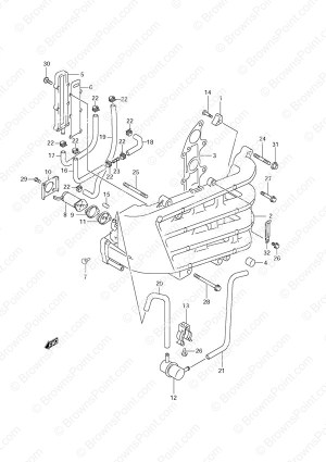 Fig 10  Inlet Manifold  Suzuki DF 70 Parts Listingss  2001
