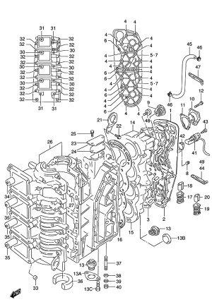 Fig 1  Crankcase  Suzuki DT 115 Parts Listings  1986