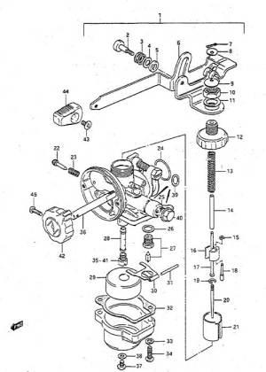 Fig 4  Carburetor  Suzuki DT 2 Parts Listings  1986 to 1989