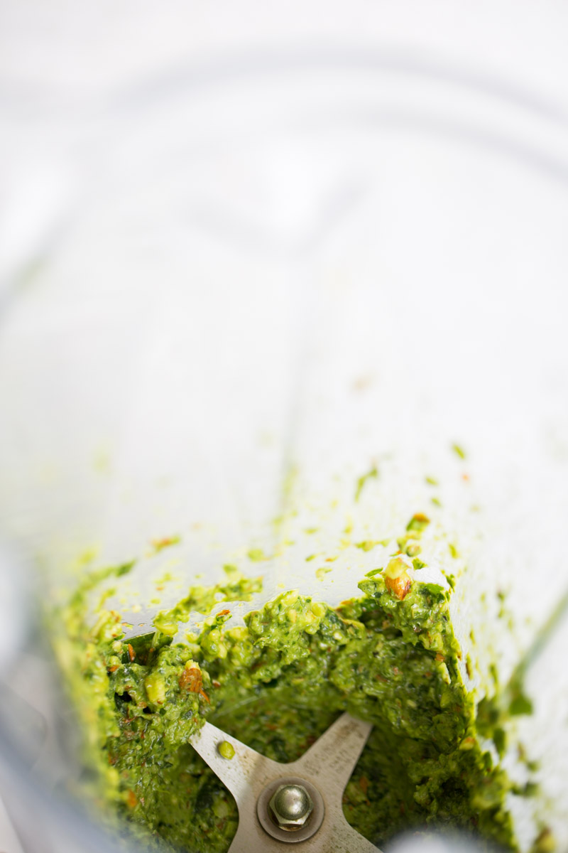spicy almond pesto for green bean and potato salad in the blender