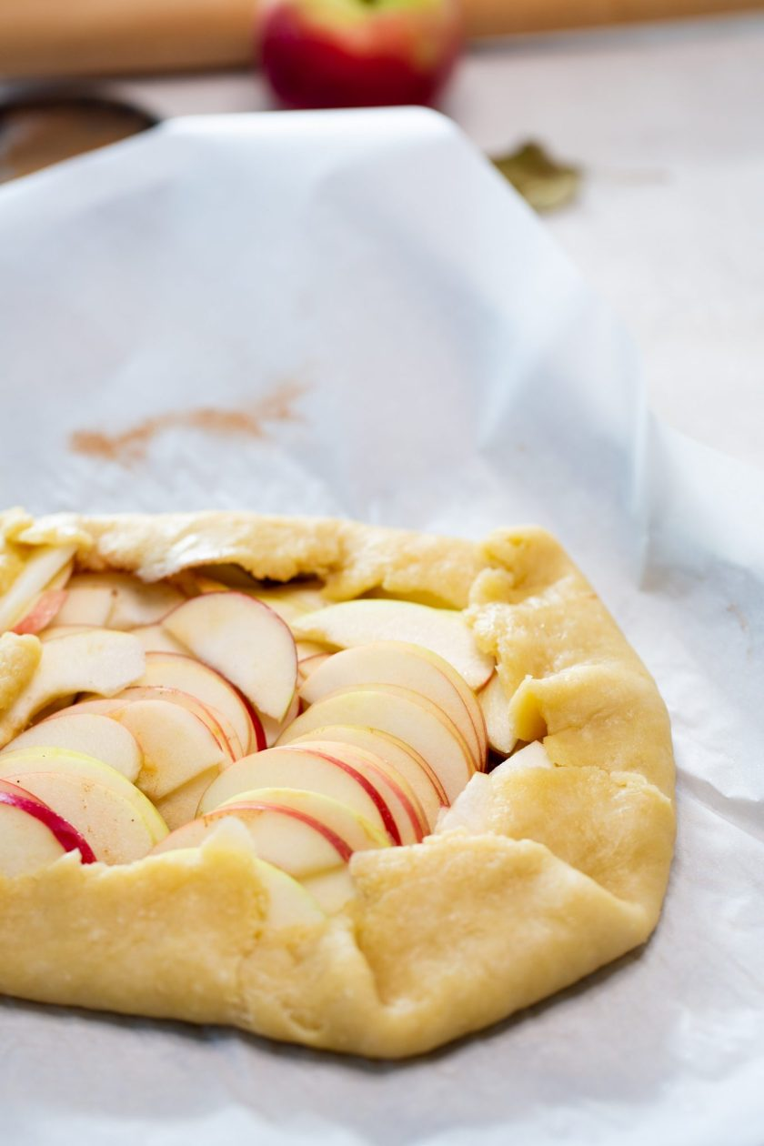 Apple galette before placing it in the oven.