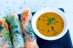 Fresh vegetable spring rolls with almond sauce