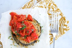 Baked breaded eggplant with cherry tomato sauce