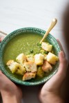 Broccoli and  spinach soup with cilantro croutons
