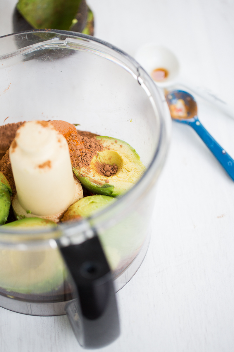 avocados and cocoa powder in food processor container