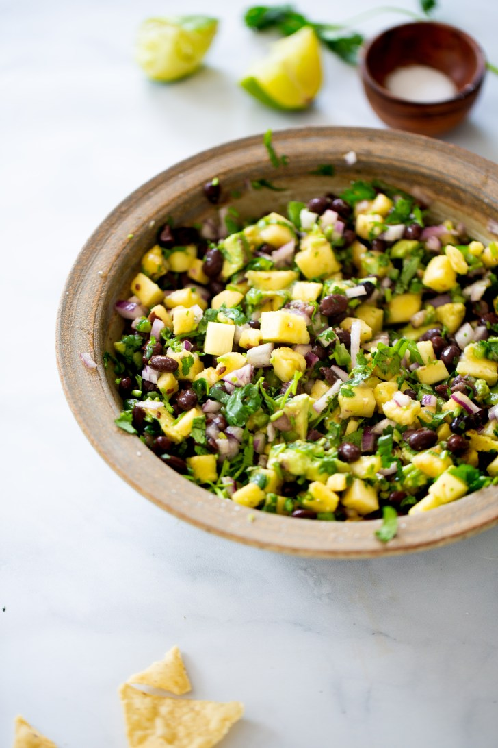 Pineapple salsa with black beans