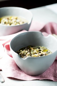 Winter soup with mushrooms, leeks and rice