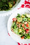 Quinoa summer salad with avocado and strawberries
