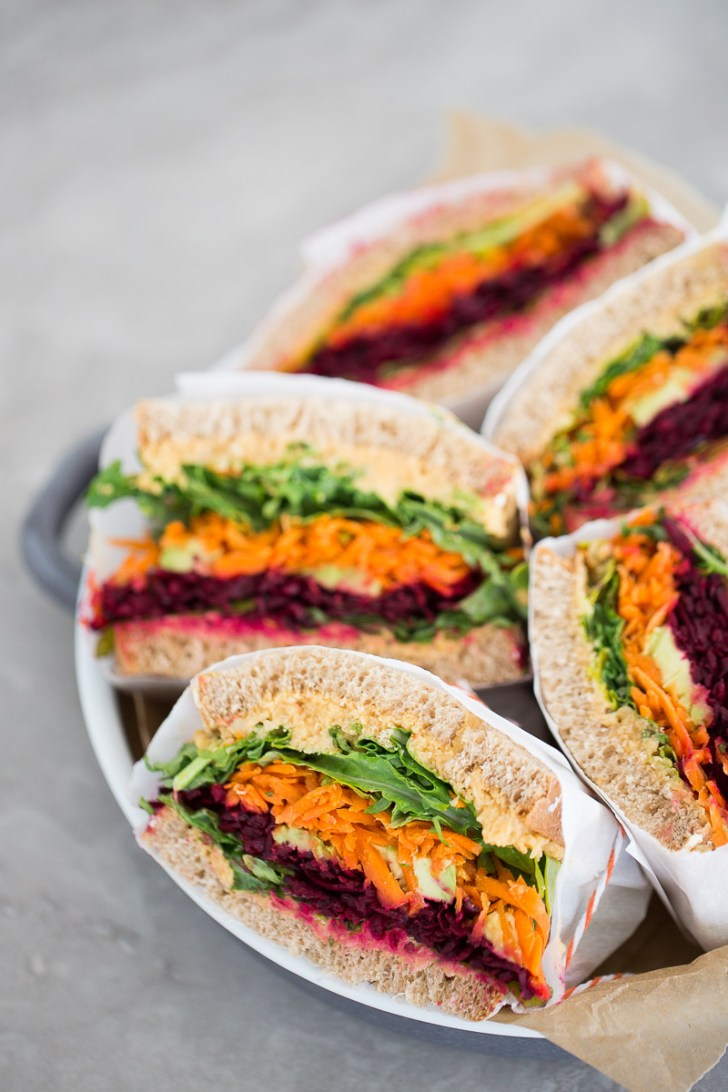 Vegetable sandwich with chipotle hummus