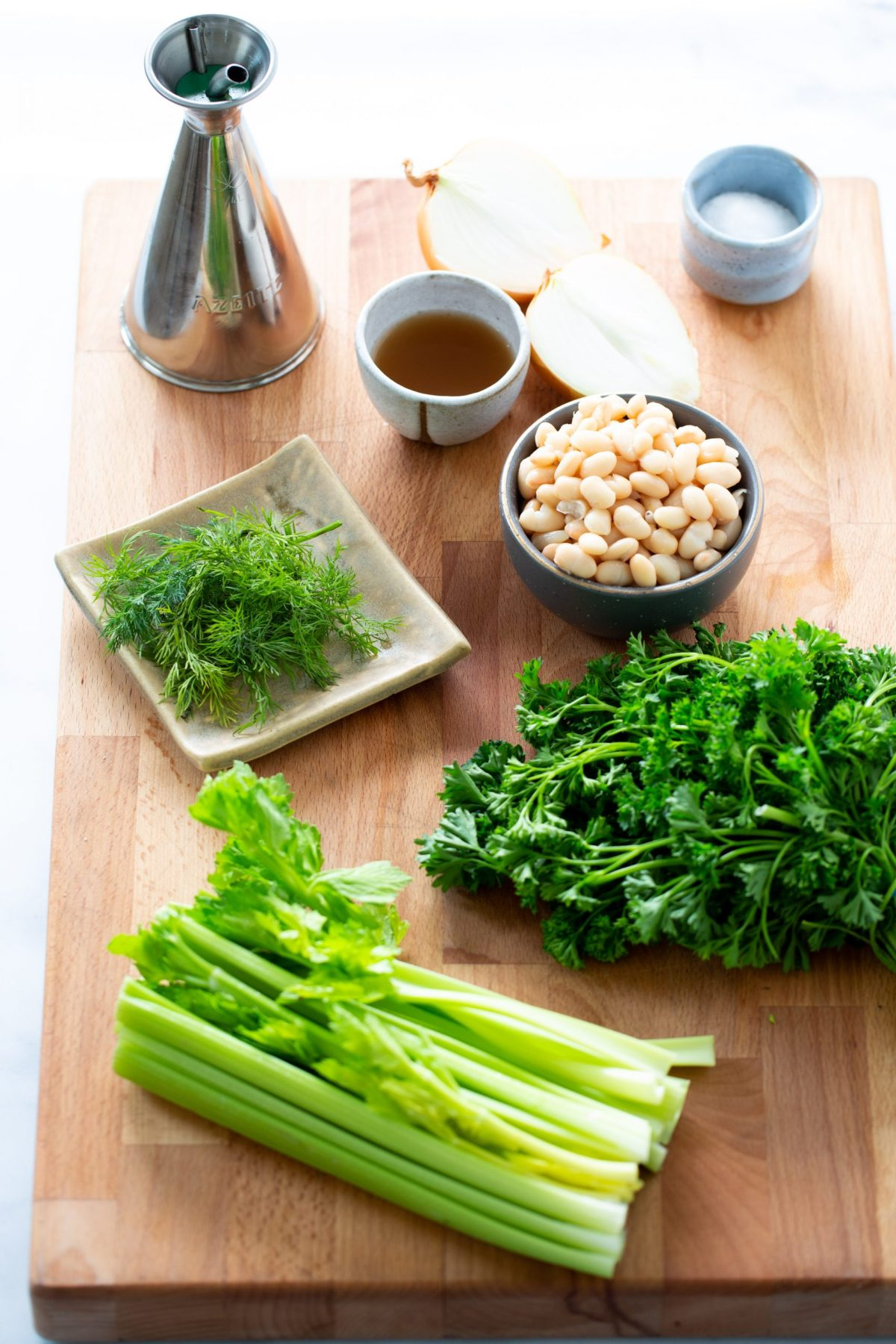 Ingredients to make perfect celery salad