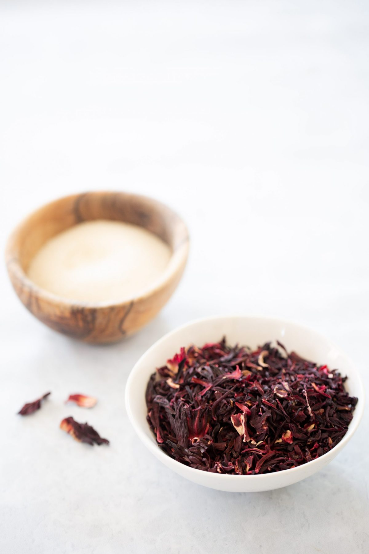 a bowl with dried hibiscus flowers