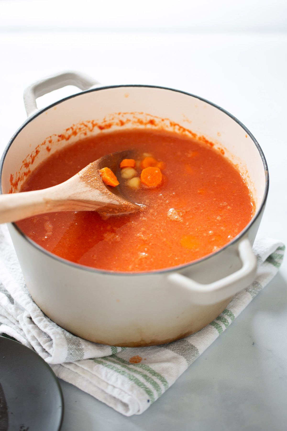 A pot with Mexican vegan soup