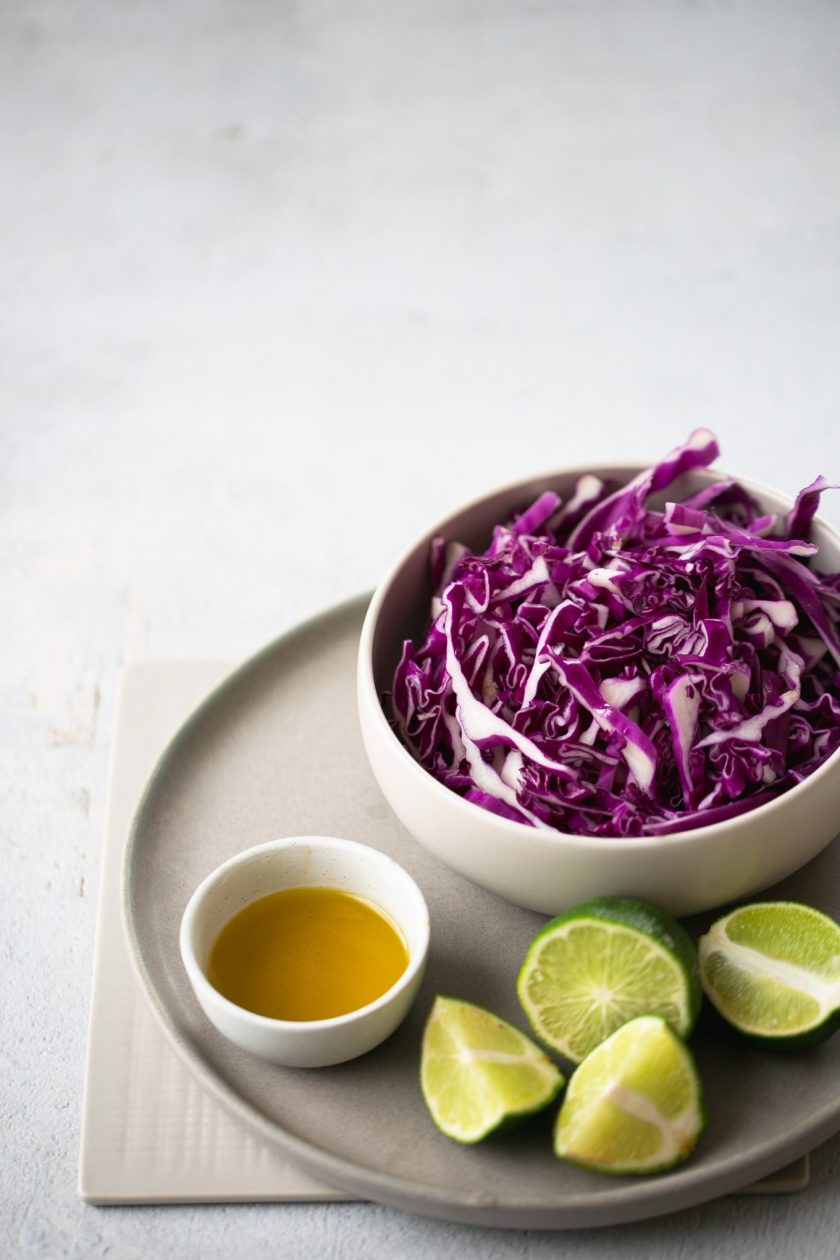 red cabbage, limes and olive oil