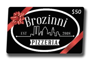 $50 Brozinni's Gift Card Nashville, Indiana