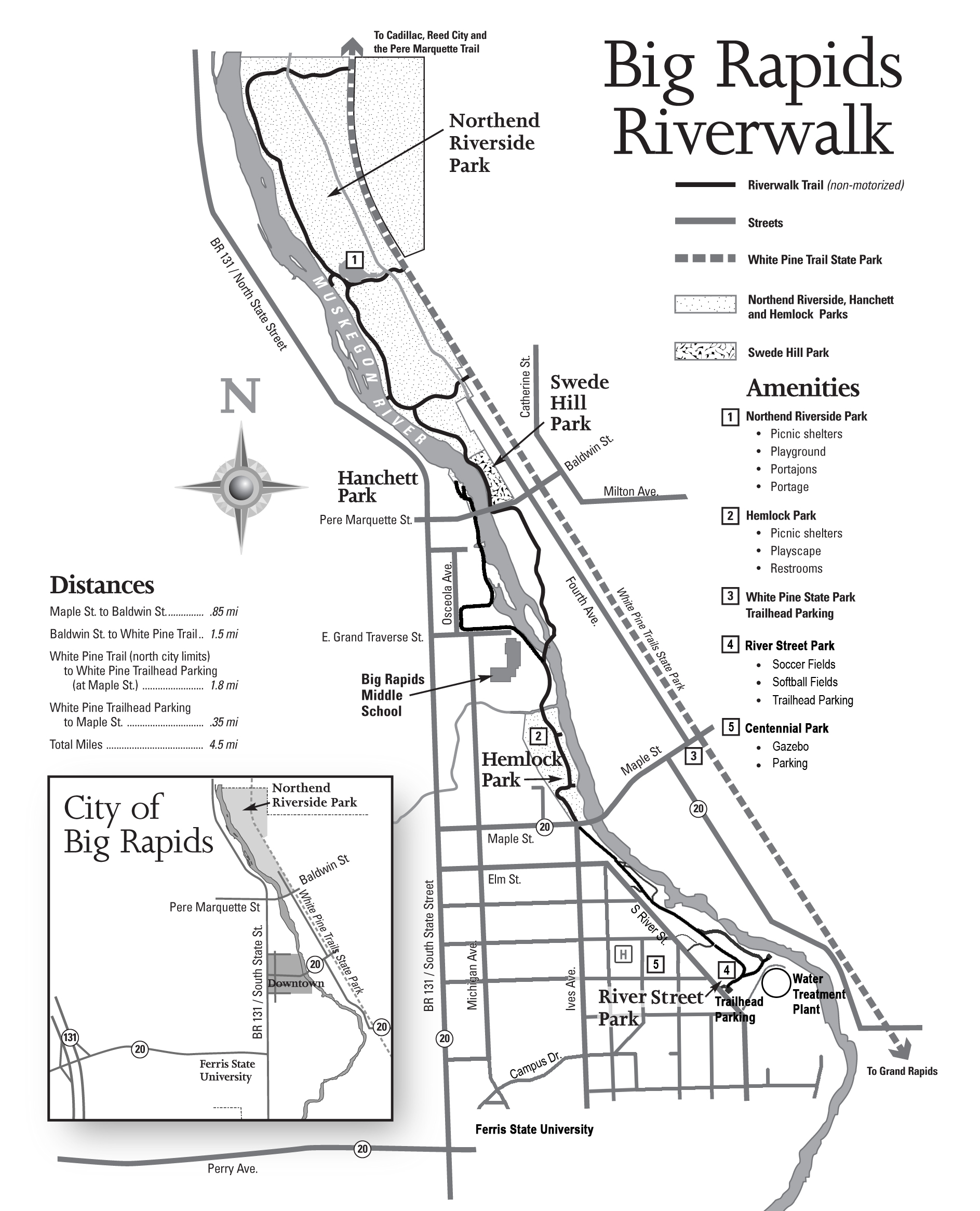 Riverwalk is a linear park that runs on both the east and
