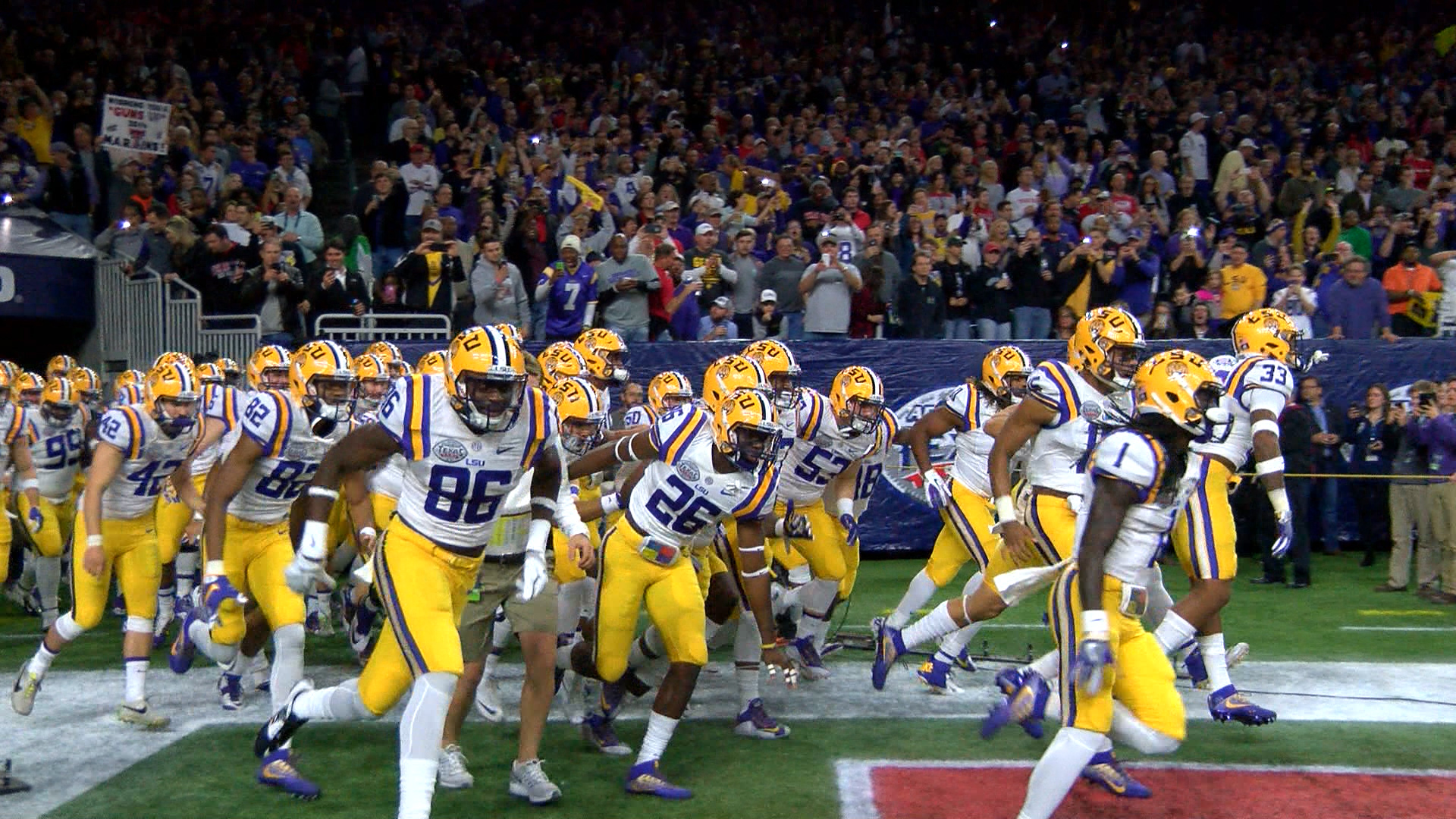 LSU Football Runs Out