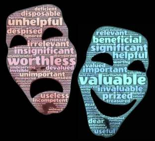 "Graphic of two word clouds in the shape of a smiling face and a frowning face. The key word for the sibling face is ""valuable"". For the growing face, ""worthless."""