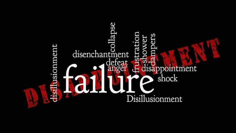 Word cloud on a black background, with words such as defeat, anger, frustration arrayed around the large, white block-lettered word failure. Behind them all, in red, distressed-looking block letters, the word disappointment angles up from lower right to upper left