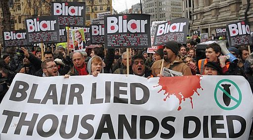 Blair lies protest 512