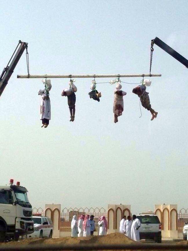 Saudi Arabia. Crucifiction after beheading