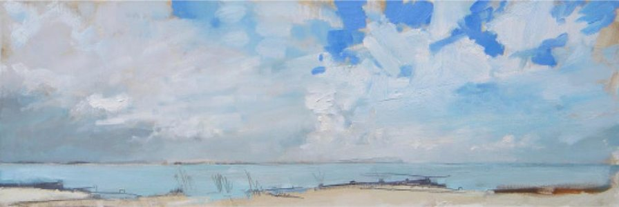 Blue Sky Breaking Through. Image size 36 x 13cm. Mounted and framed - 53 x 26cm