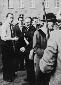 1954 Der neue Prinz Norbert Schlagheck. Josef Thelen, Peter Reiners, Heinz Dahmen