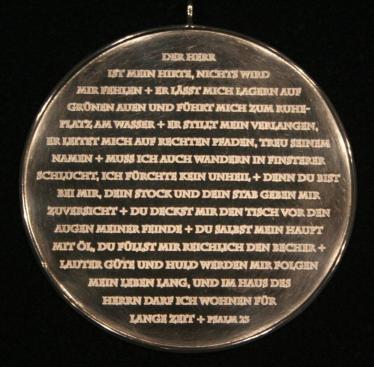 Auf der Königsplakette 2007 von Hans Winkens ist der Psalm 23 niedergeschrieben