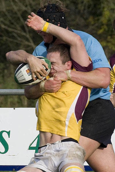 Feeling the pain, John Shine being tackled