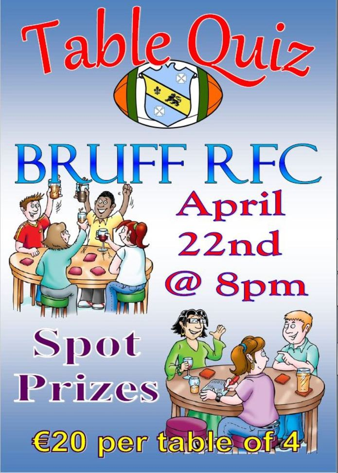 Bruff RFC Table Quiz, Friday April 22nd