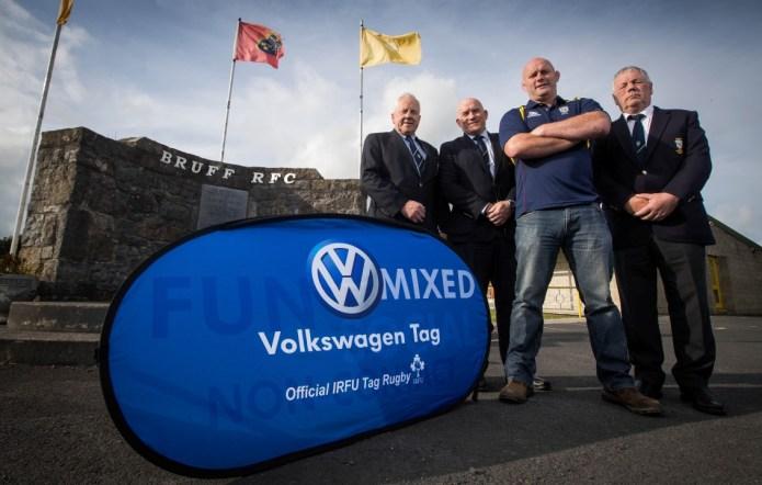 Founding Member of Bruff RFC Willie Conway, Munster Branch Delegate Richard Leonard, Former Irish Rugby Legend John Hays and President of Bruff RFC Nicolas Cooke