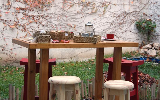 Desayunador de madera  mesa alta  Brugues Mosconi