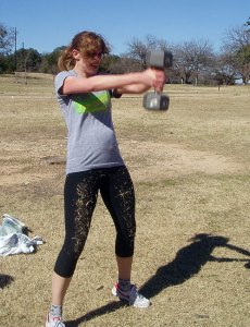 Halfway through a dumbbell swing