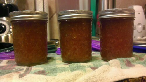 3 jars of pear-ginger preserves