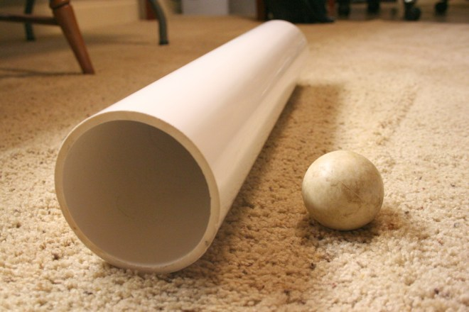 PVC pipe and lacrosse ball