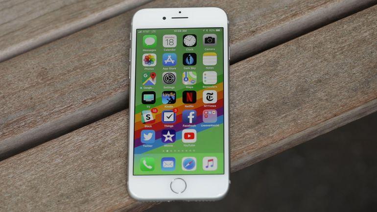 iphone 8 on the wooden floor
