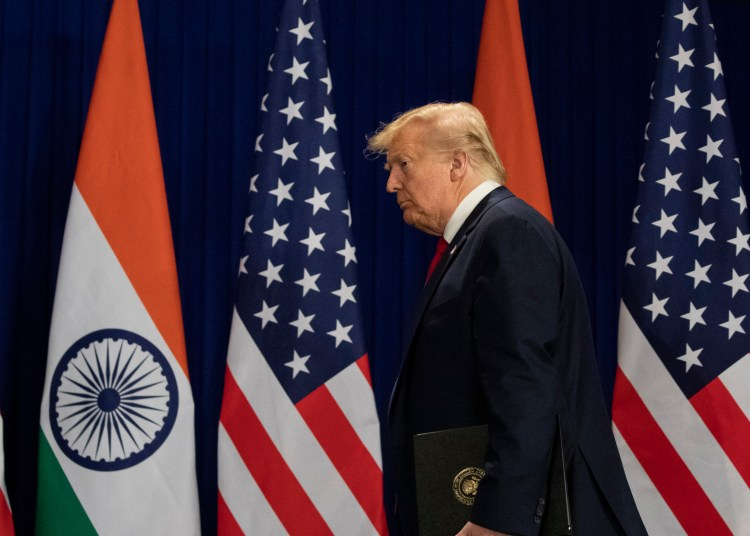 U.S.President Donald Trump arrives for a news conference, Tuesday, Feb. 25, 2020, in New Delhi, India. (AP Photo/Alex Brandon)