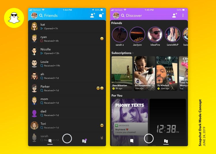 Dribbble Snapchat Dark Mode Concept by Andy Peninger