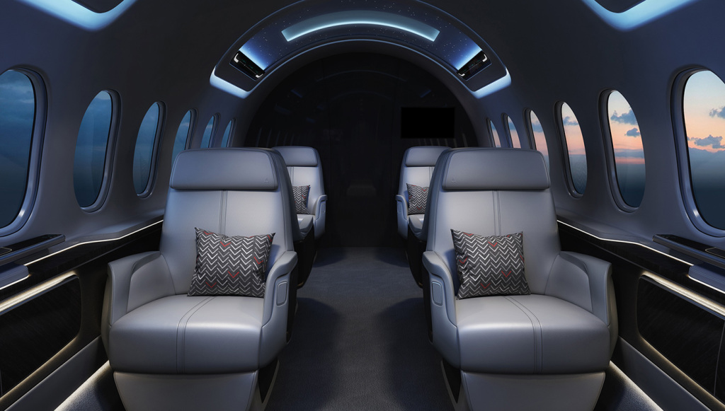Luxury cabin of the Aerion AS2 supersonic jet