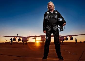 Richard Branson flying Virgin Galactic