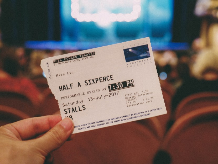 half a sixpence, ticket stub - london, summer break 2017 | brunch at audrey's