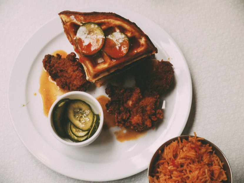 fireball chicken and waffles - the breakfast club | brunch at audrey's