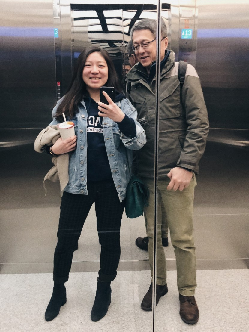elevator pic with dad - january lately | brunch at audrey's