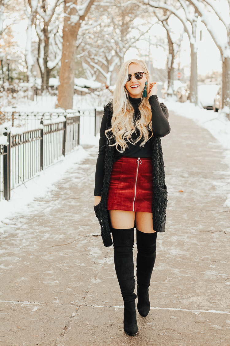 winter goingout outfit  over the knee boots  brunch on